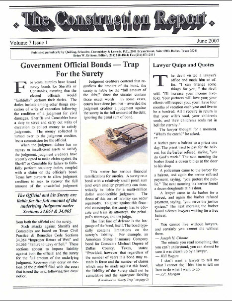 Government Official Bonds - The Surety Trap