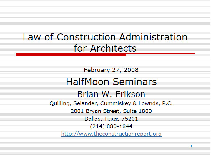 Law of Construction Administration for Architects